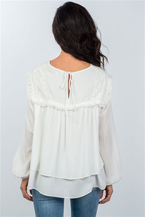 Classy Off White Tie Back Layered Hem Blouse - Siin Bees