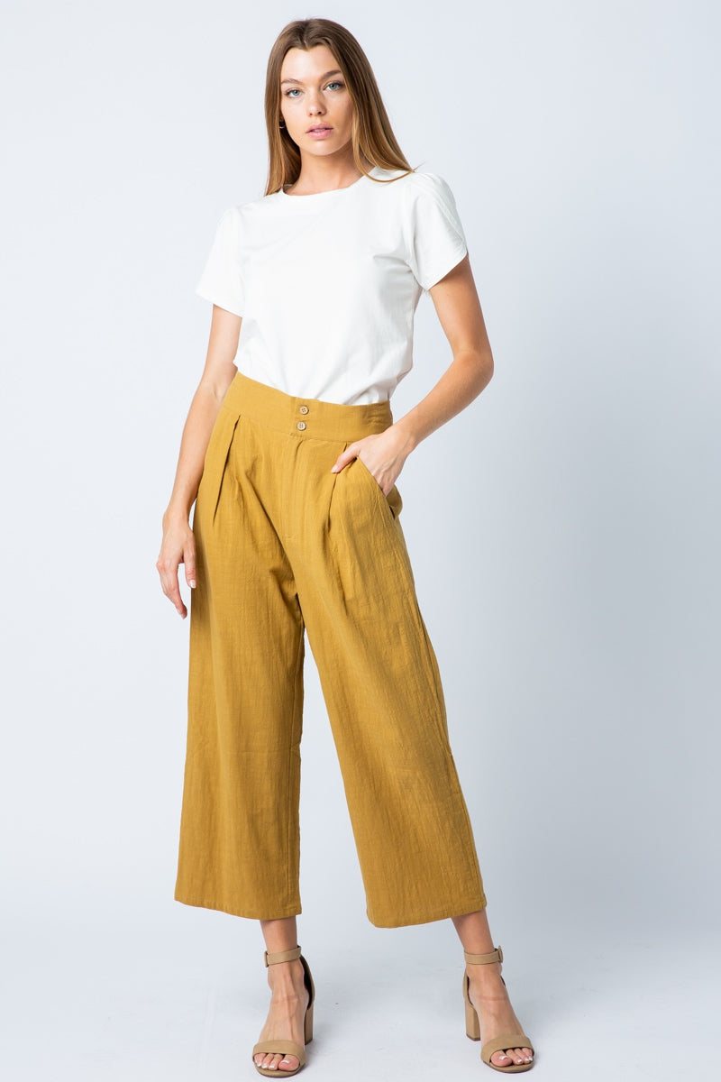 Office Pants Button Detail Smocking Waist With Wide Leg Siin Bees