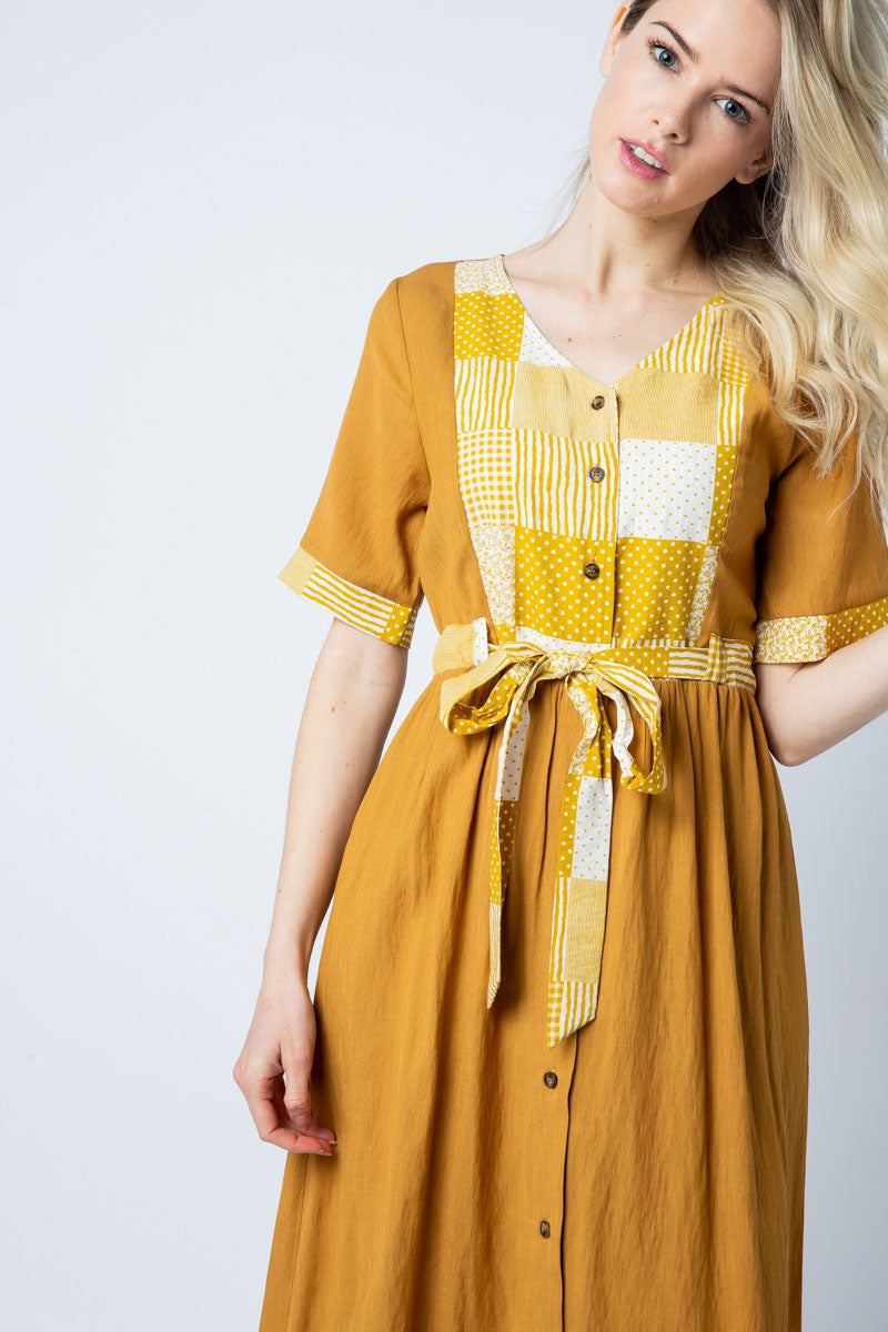 Alyssa Midi Dress Short Sleeve With Contra Siin Bees