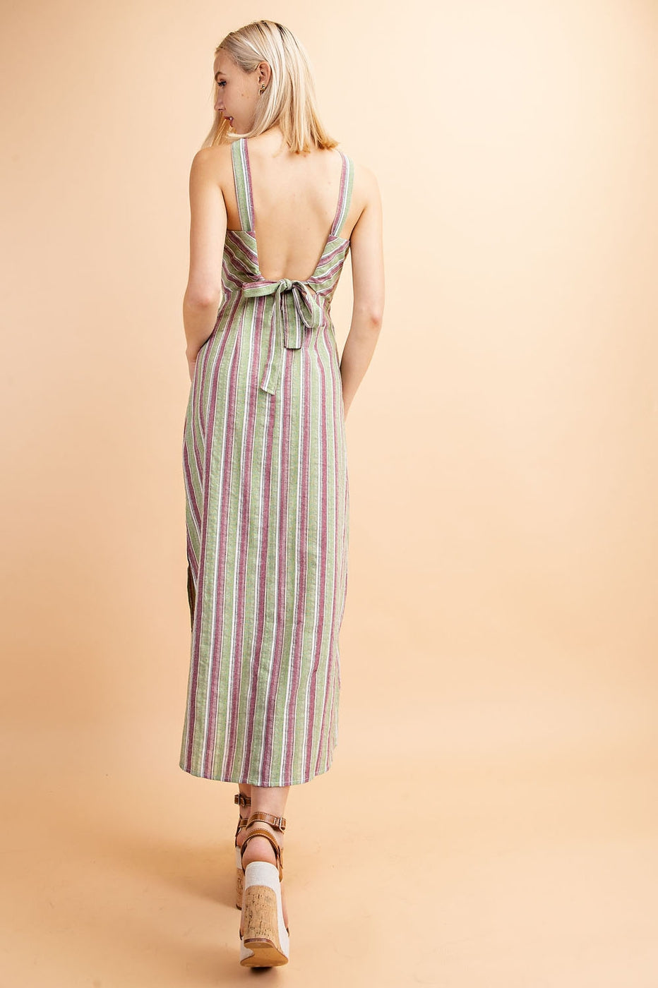 Halter Stripe Maxi Dress In Green-Multi Siin Bees