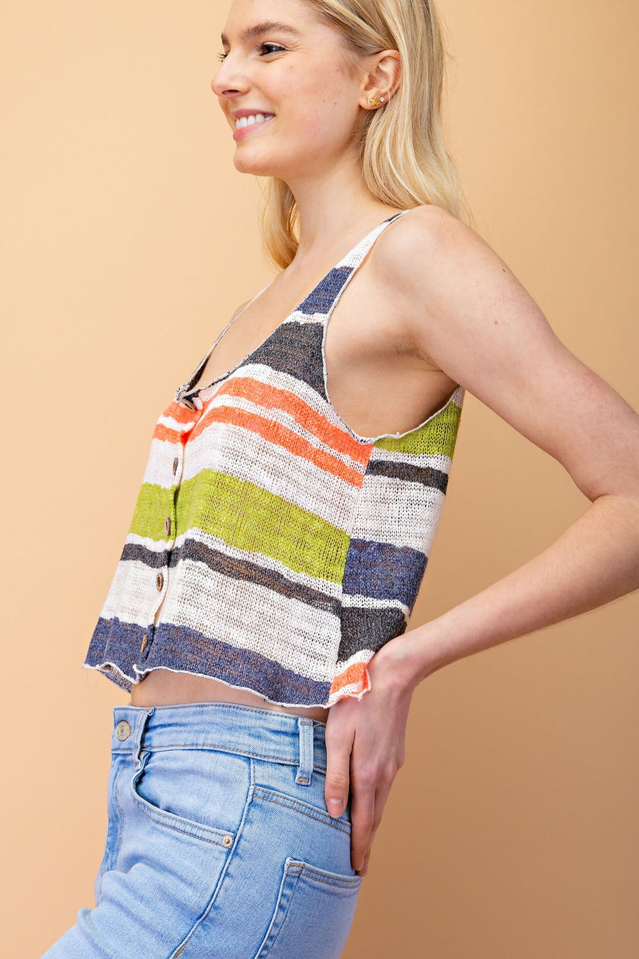 Multi Stripe Knit Top With Fabric Sleeveless - Siin Bees