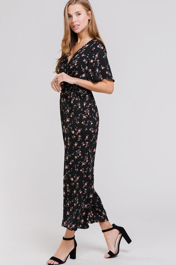 Diana Black Floral Jumpsuit Waist Tie With Pockets Siin Bees