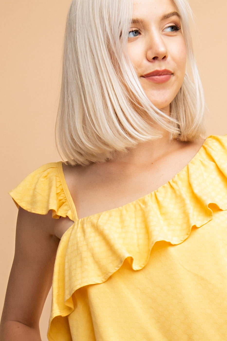 Asymmetrical Shoulder Ruffle Detail Top Siin Bees