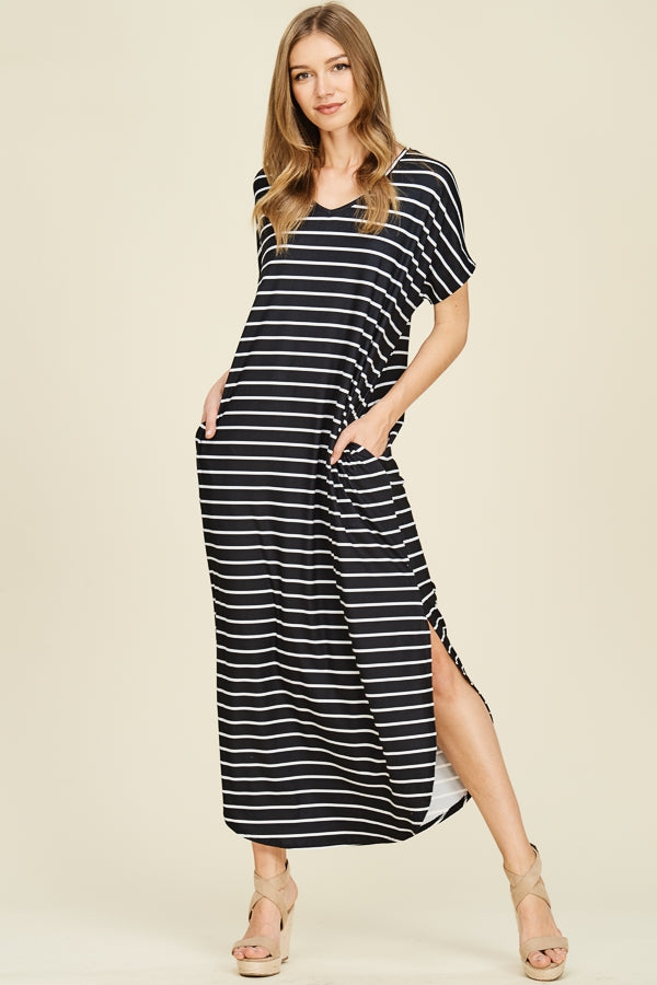 Everly Striped Both Side Slit Maxi Dress Siin Bees