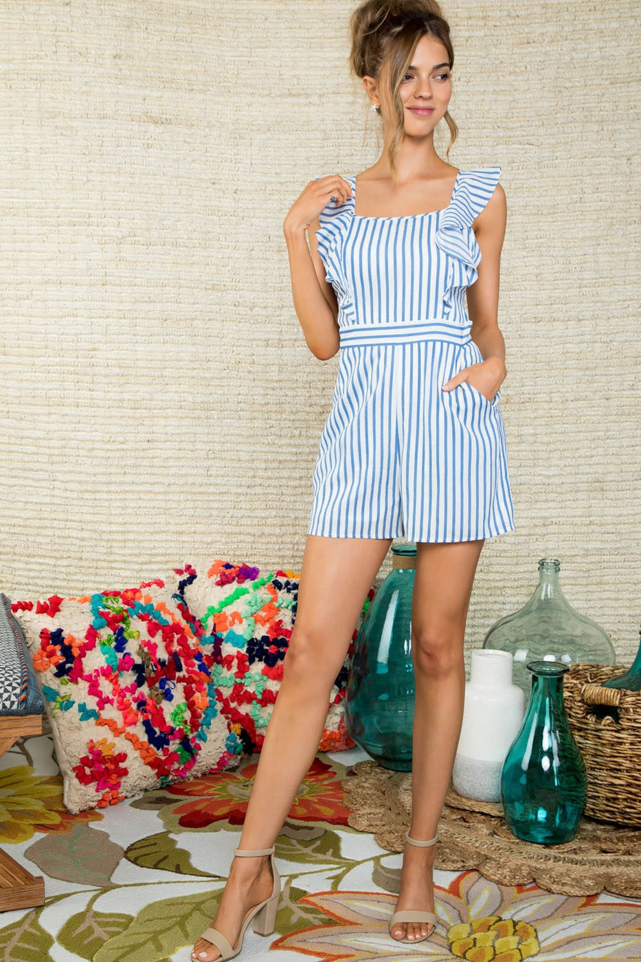 Olivia Stripe Print Shoulder Ruffle Side Pocket Jumpsuit Siin Bees