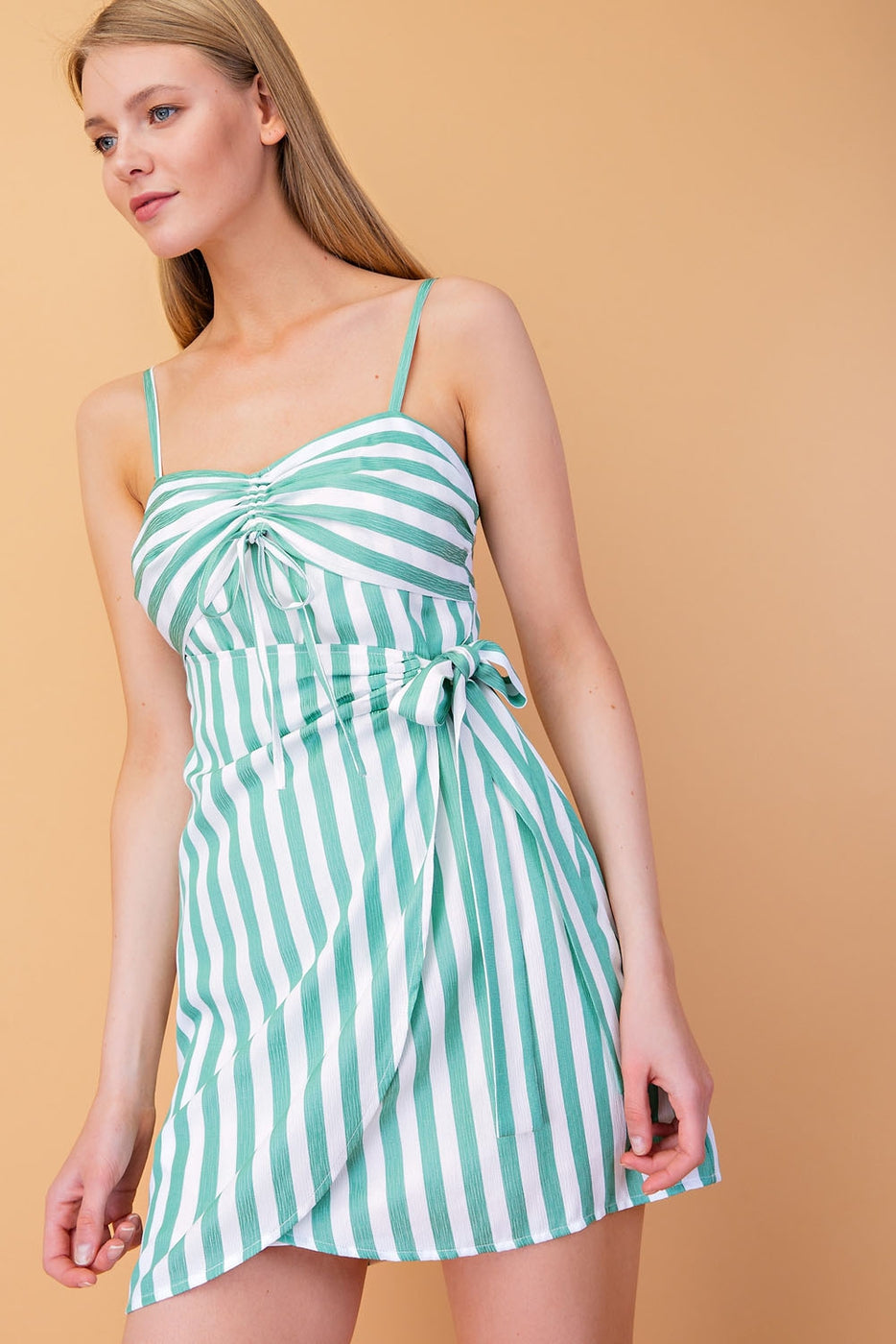 Spaghetti Strap Striped Mini Dress With Wrap Detail In Green Siin Bees