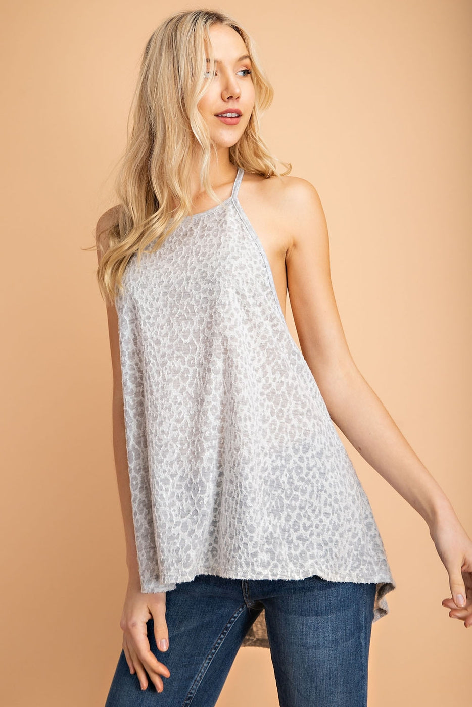 Reverse Way Fabric Point Sleeveless Knit Top In Grey Siin Bees
