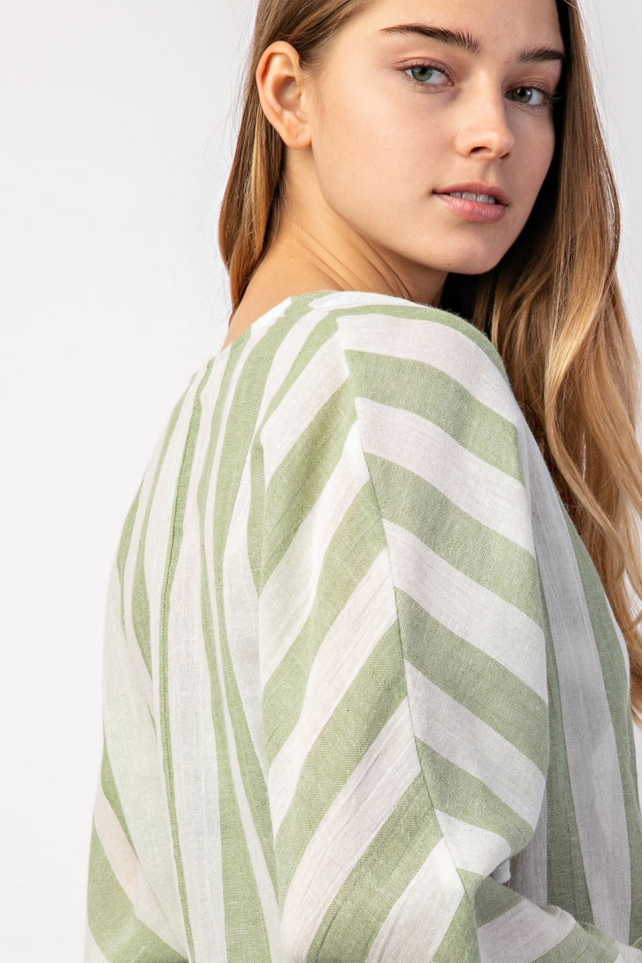 Striped Front Tie Top In Sage Siin Bees