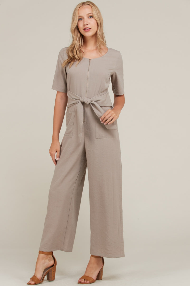 Chloe Taupe Jumpsuit Front Zipper And Tie Point Siin Bees