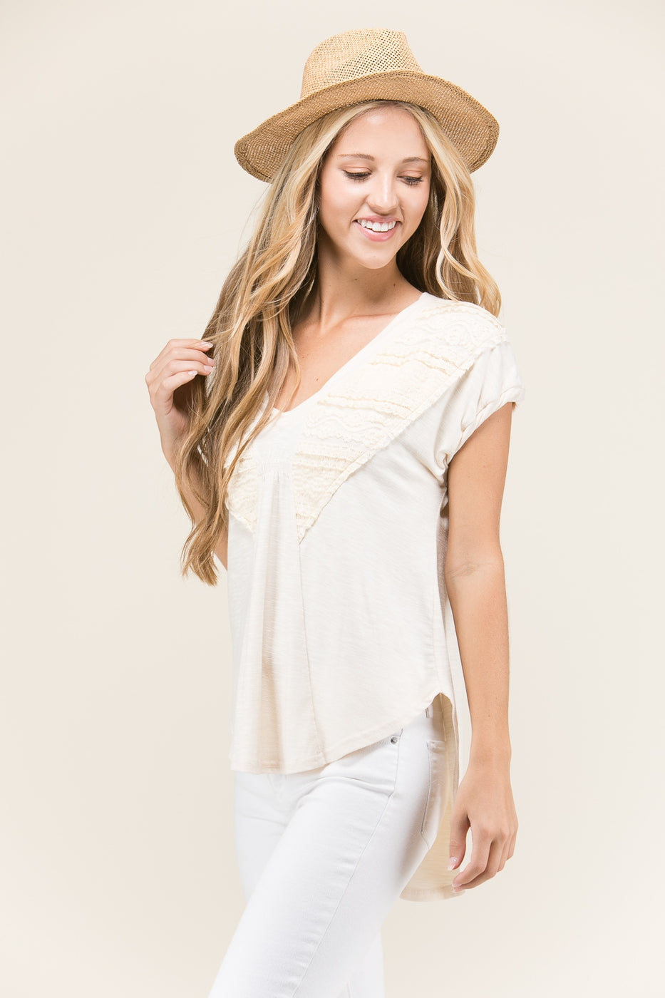 Half Sleeve Knitted Lace Top In Cream Siin Bees