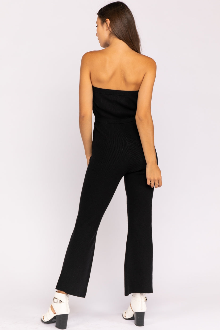 Strapless Jumpsuit With Flared Leg In Black Siin Bees