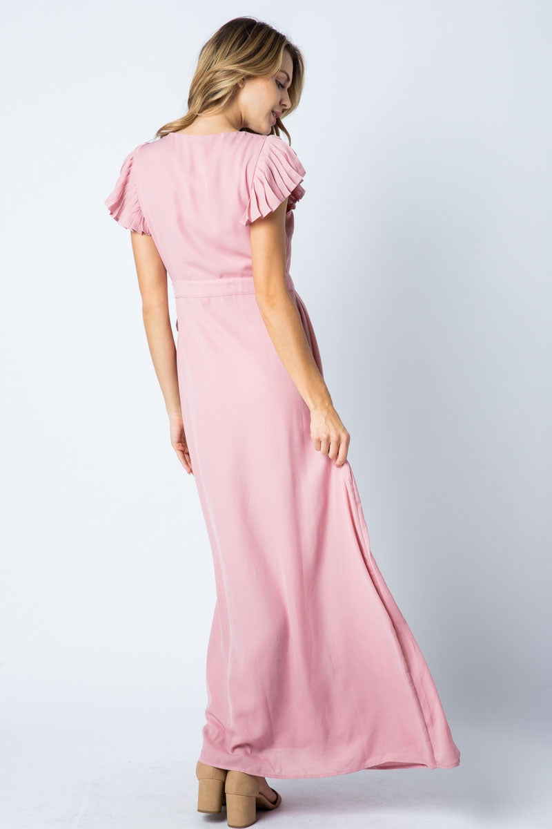 Scarlett Maxi Dress With Sleeve Ruffle Detailed Siin Bees
