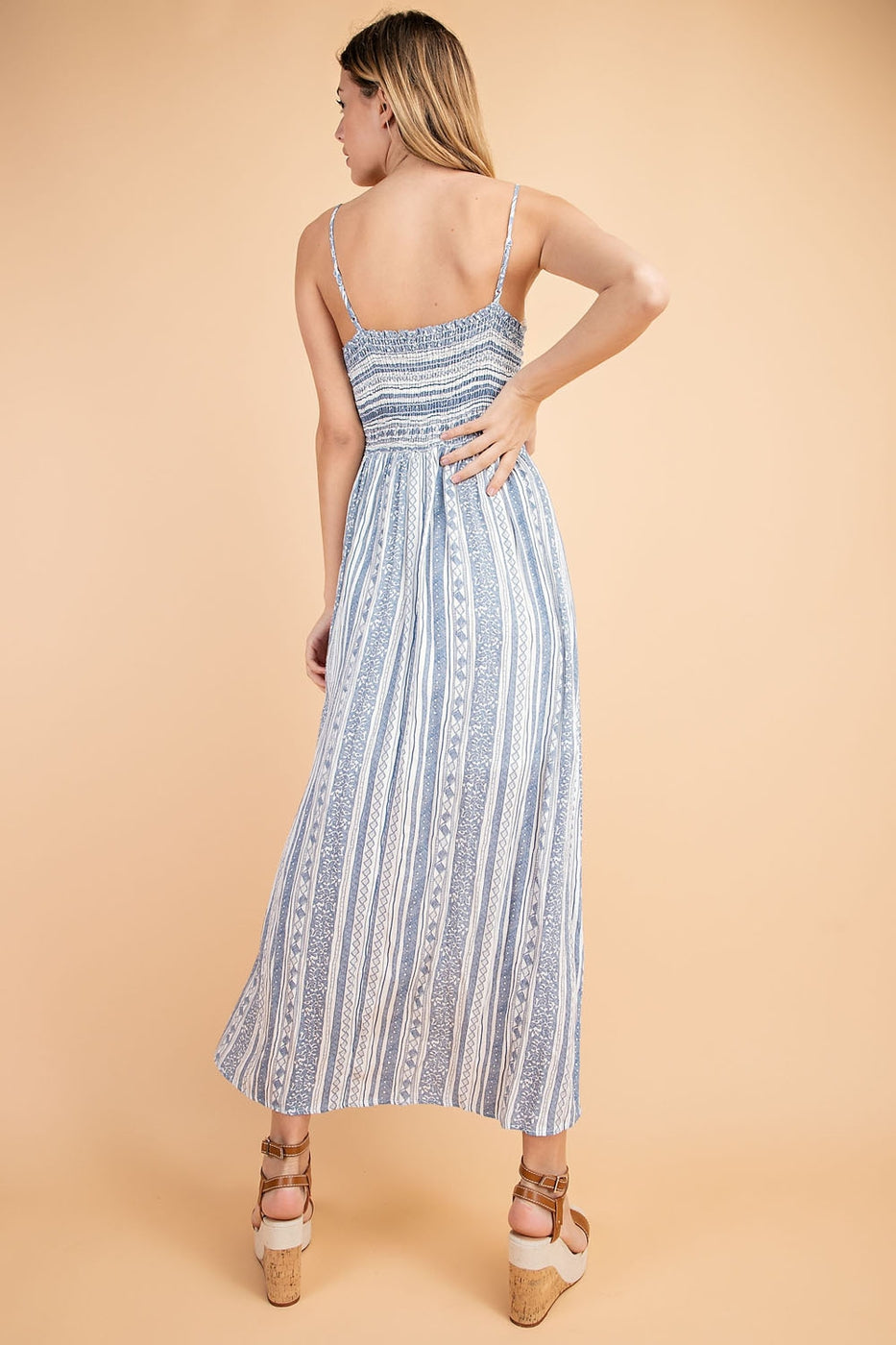 Lucy Maxi Dress With Front Tie Spag Back Smocking Siin Bees