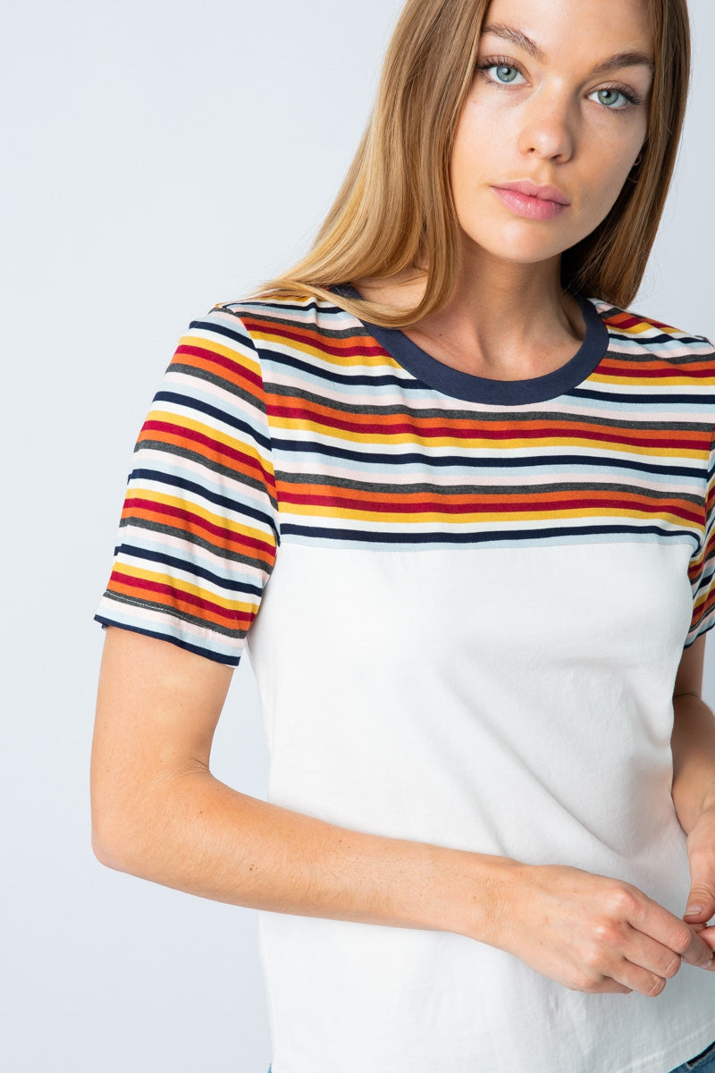 Summer White/Multi Color Stripe Tee Siin Bees