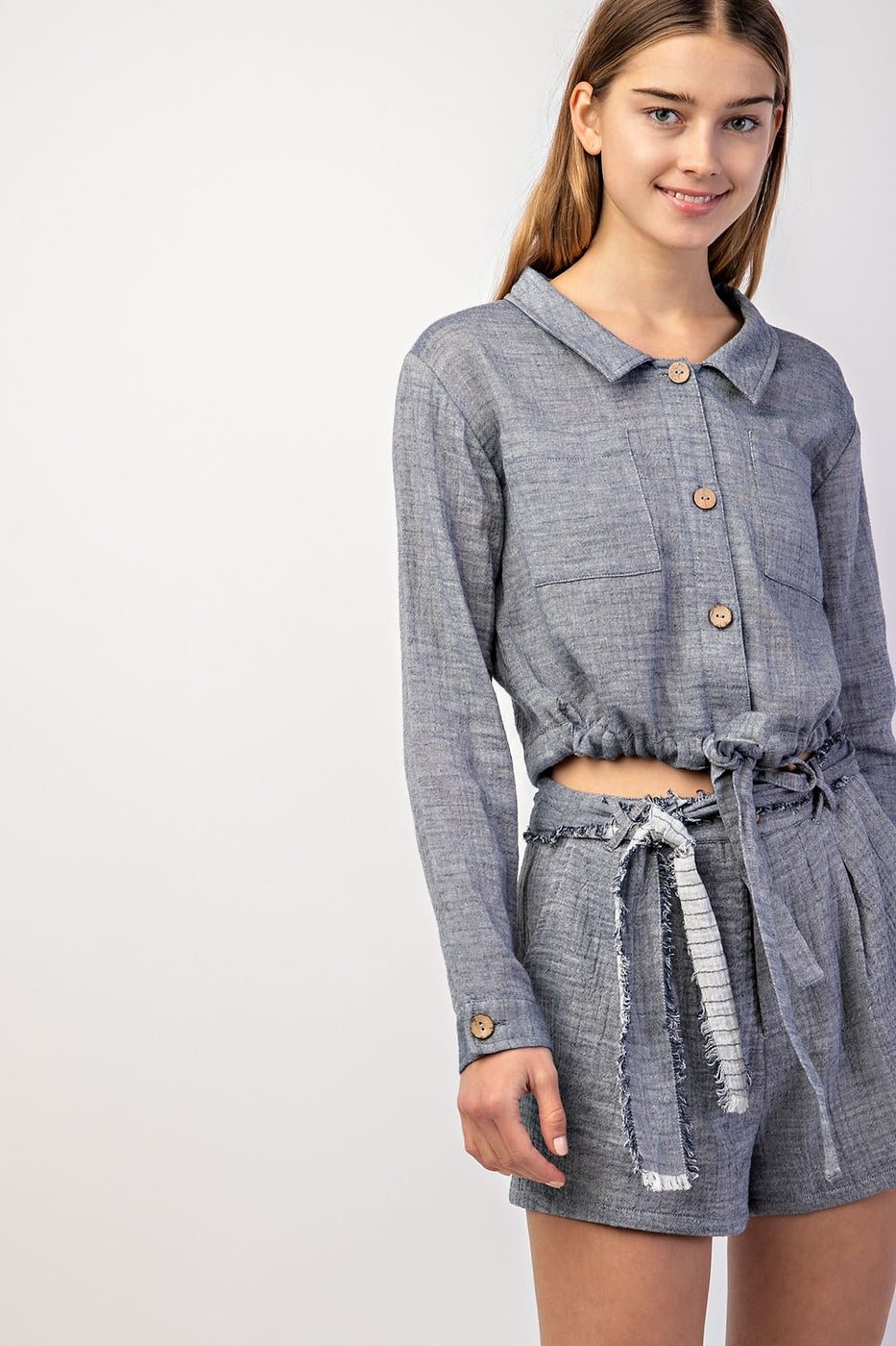 Denim Long Sleeve Blouse With Pockets Siin Bees