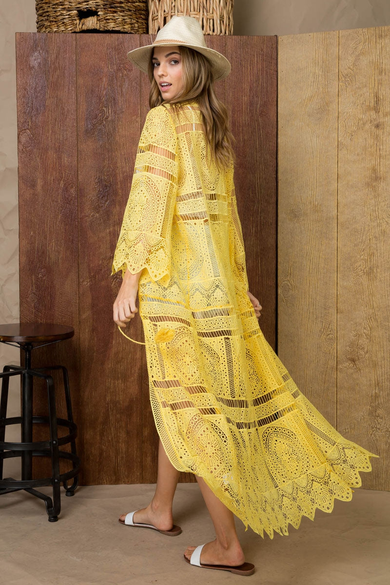 Scallop Edge Sleeve and Bottom Maxi Crochet Siin Bees