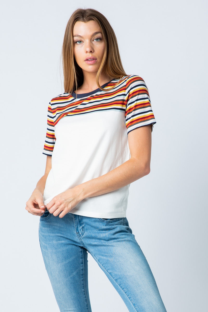 Summer White/Multi Color Stripe Tee - Siin Bees