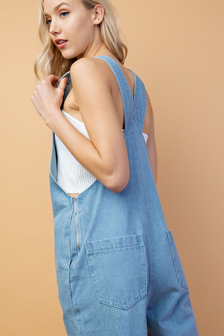Rose Cropped Denim Overalls Siin Bees