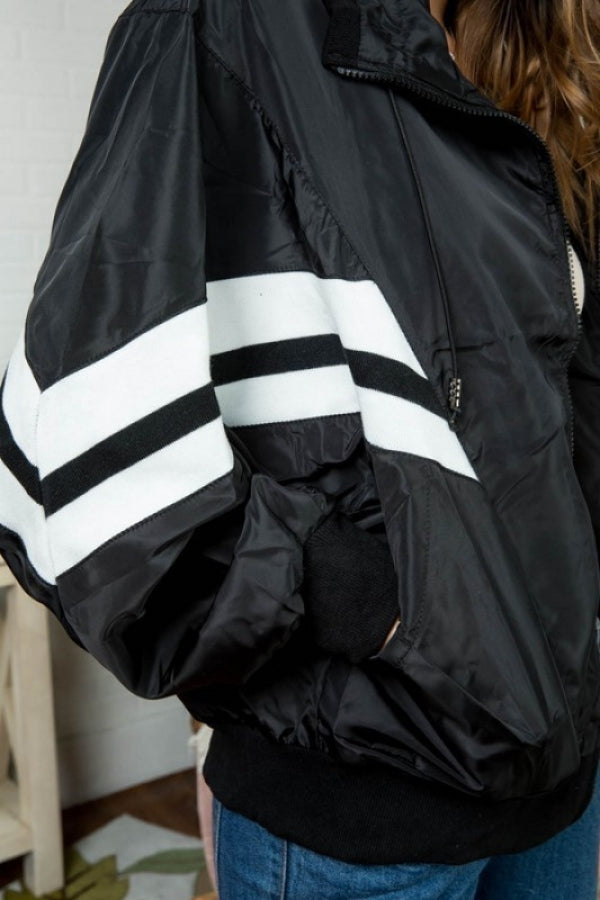 Stripe Rib Band Front Pocket with Front Zipper Windbreaker Siin Bees