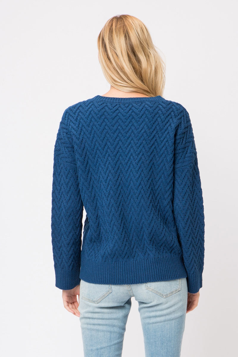 Chunky Knit Pullover Sweater With Zigzag Pattern Knitting Siin Bees