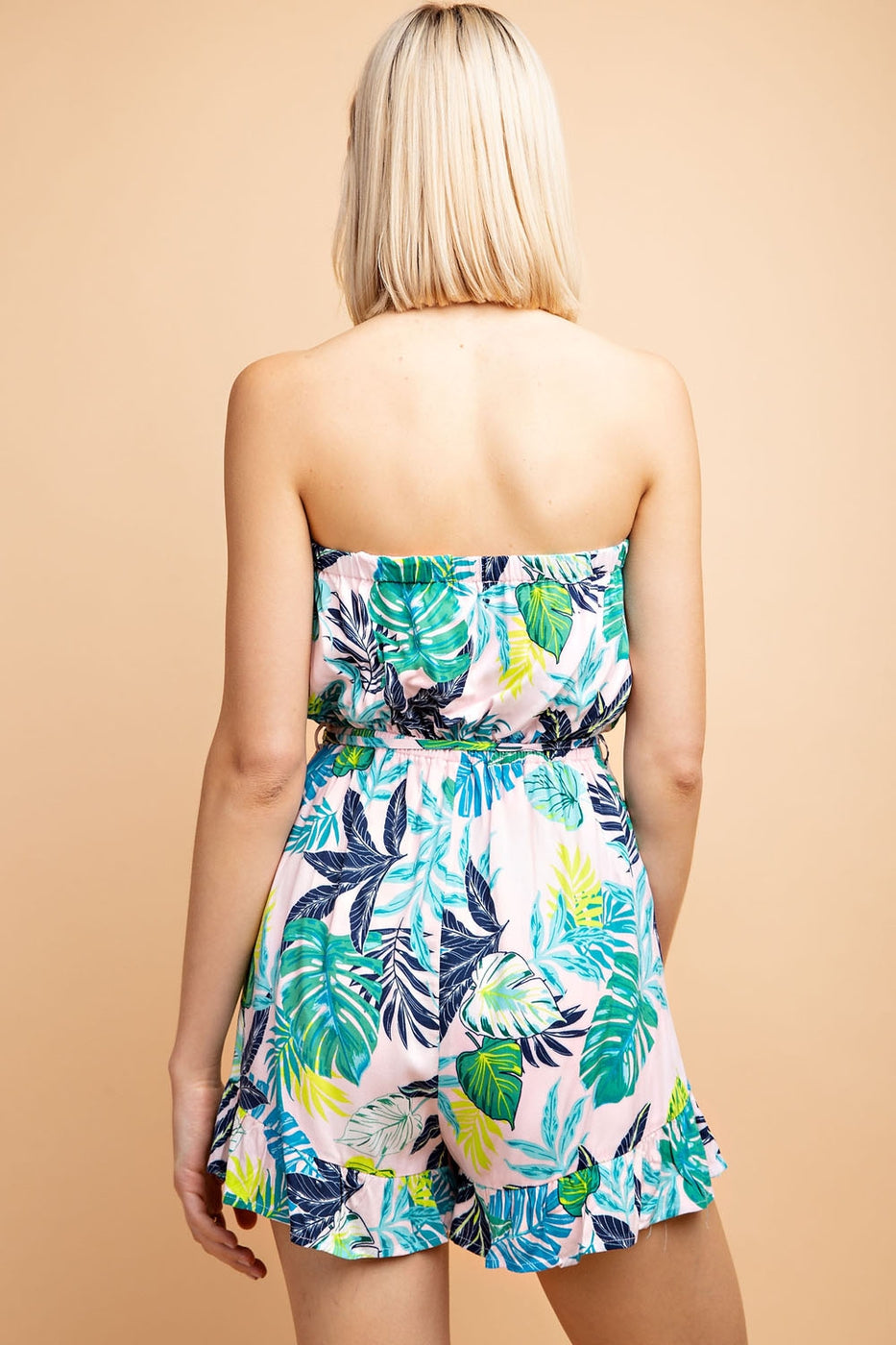 Tropical Print Tube Romper In Pink-Green Siin Bees