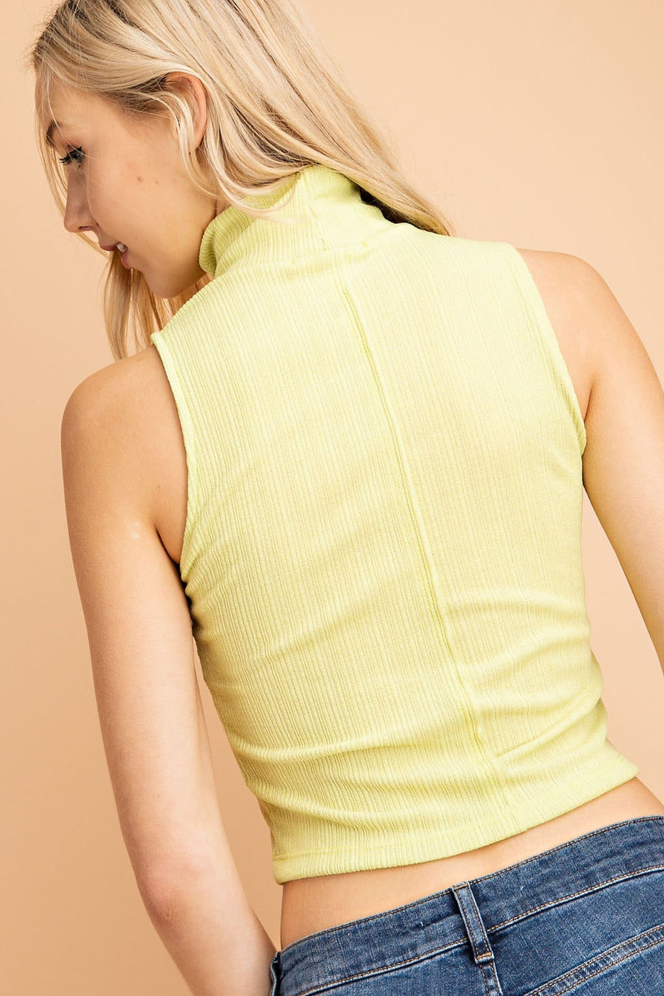 Turtle Neck Sleeveless Top In Light Green Siin Bees