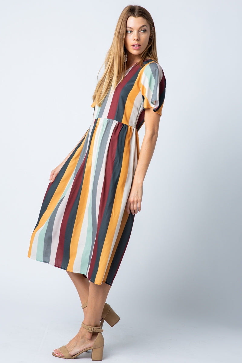 Adorable Multi Stripe Julia Midi Dress Siin Bees