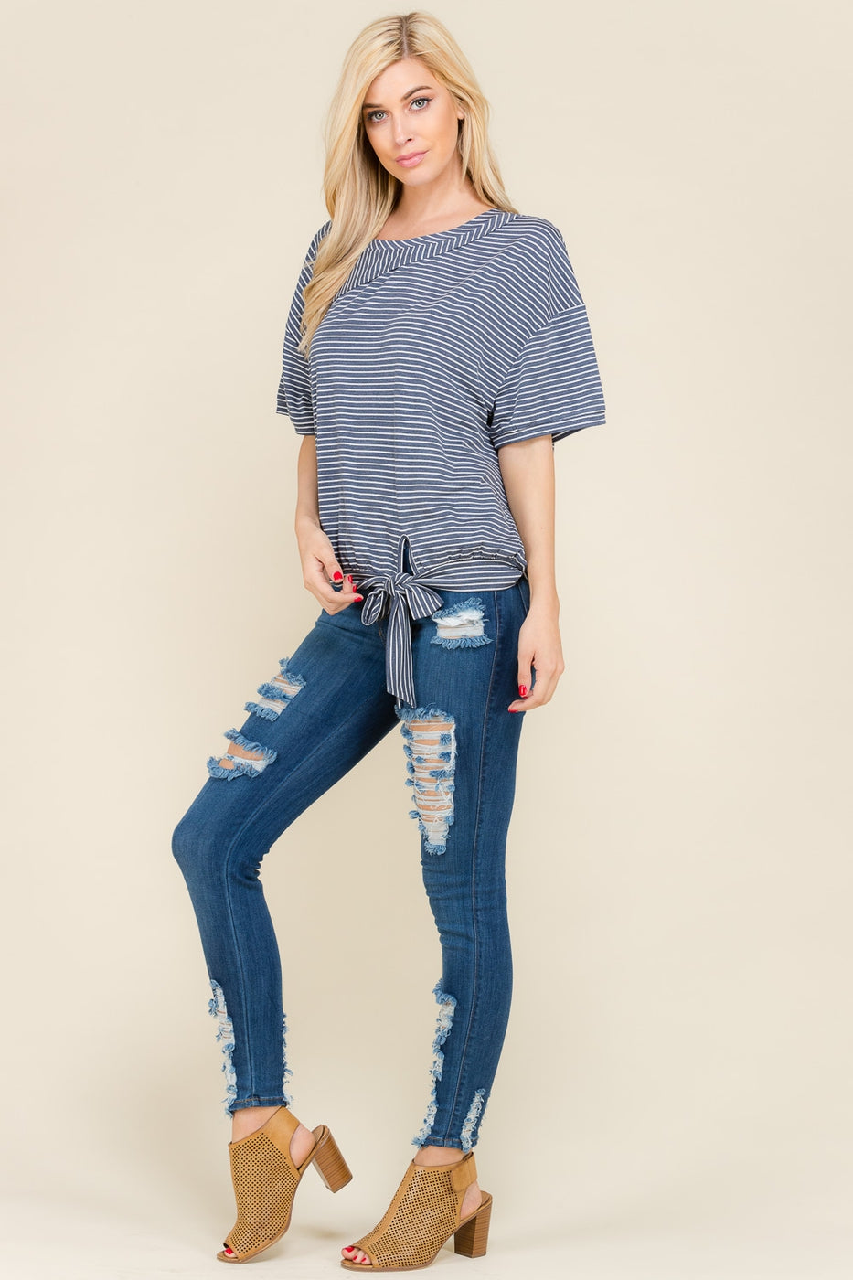 Stylish Navy Stripe Top With Bottom Tie Siin Bees