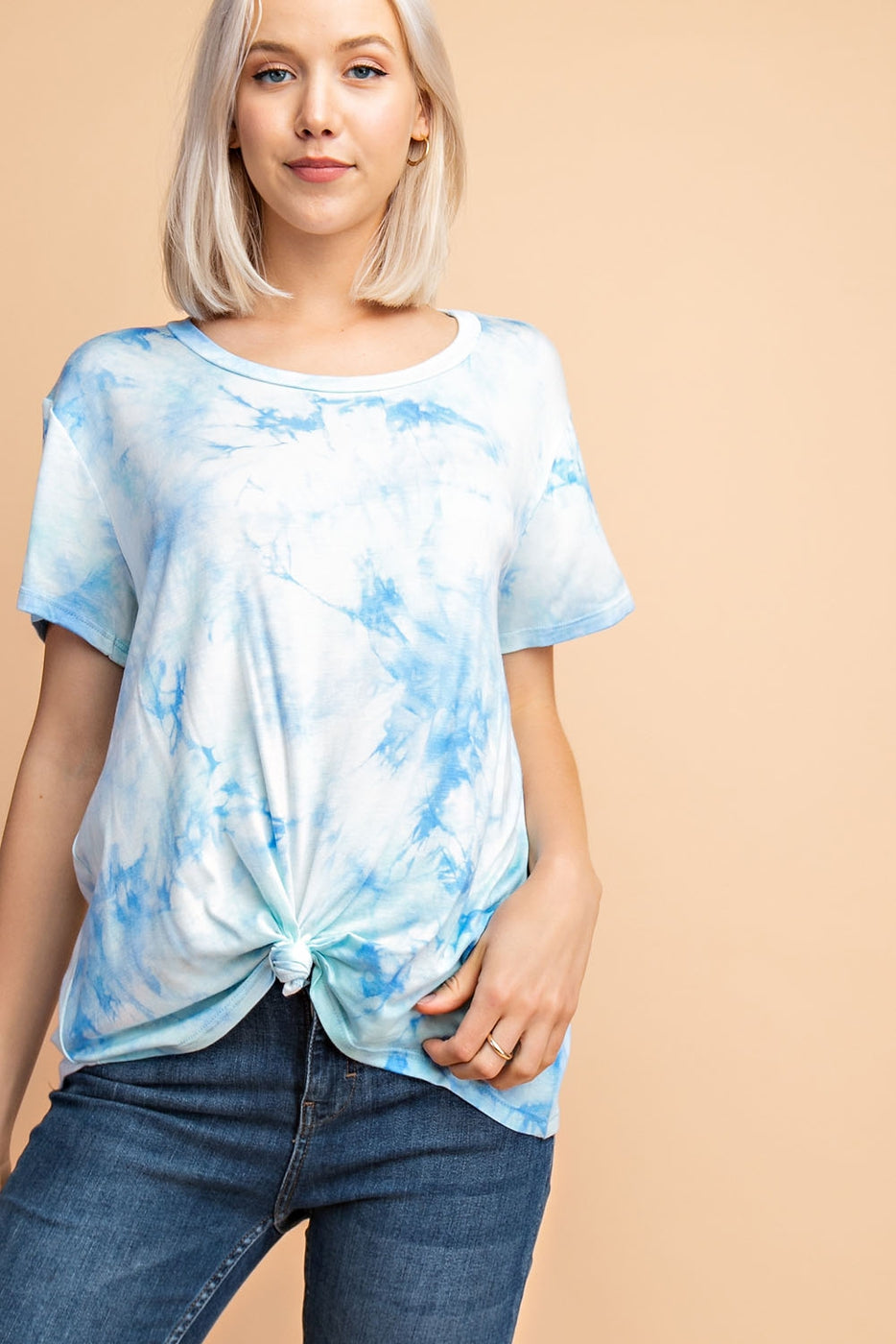 Blue-Multi Short Sleeve Top With Tie Dye Front Tie Siin Bees