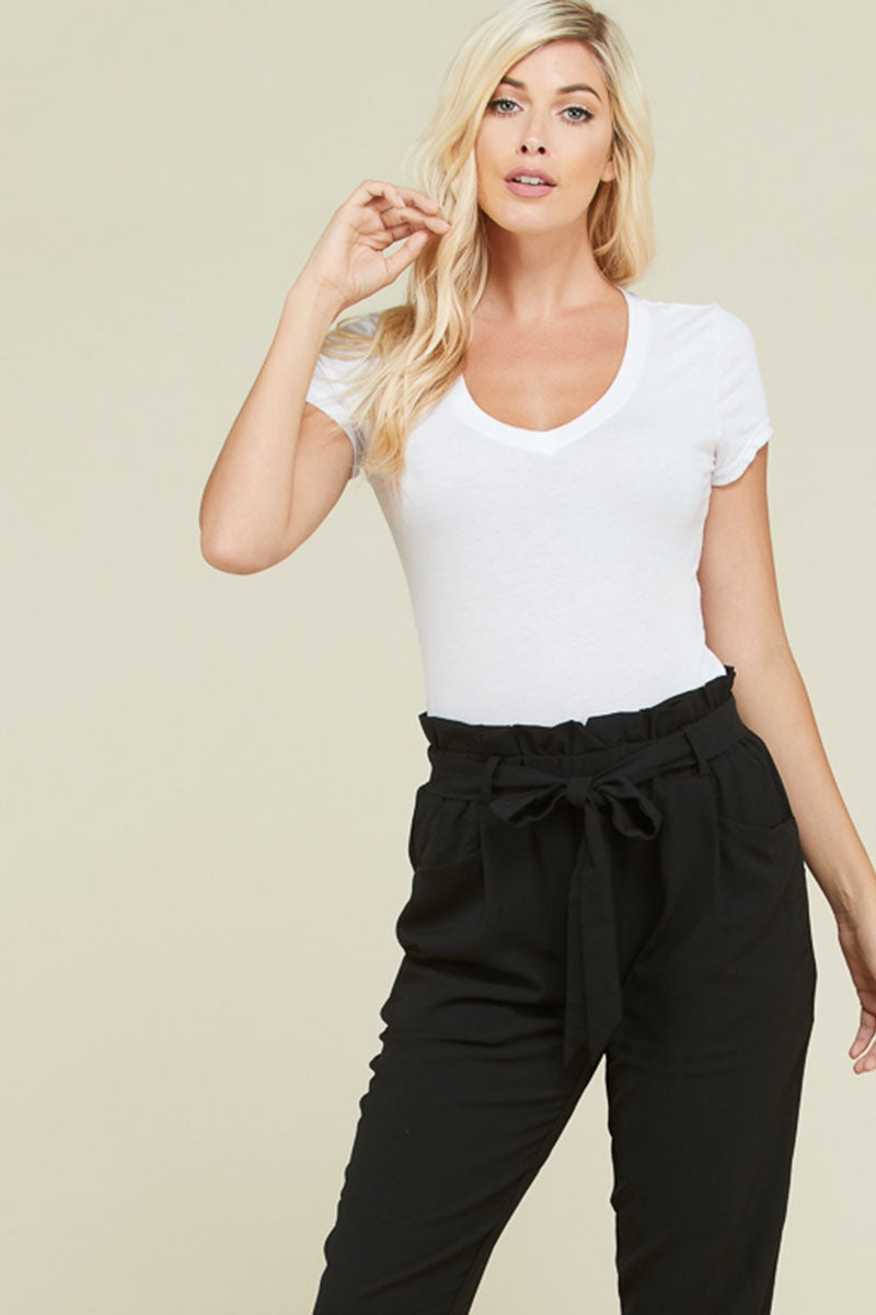 Stylish Waist Tie Pants With Front Pockets In Black Siin Bees