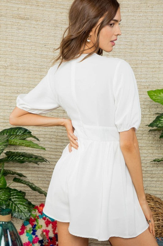 Short Sleeve V Neck Hidden Back Zipper Romper Siin Bees