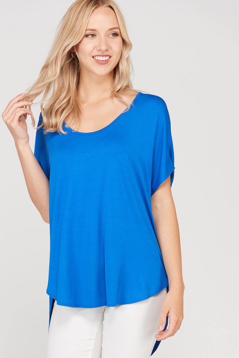 Adorable Short Sleeve Top Loose Fit High Low Siin Bees