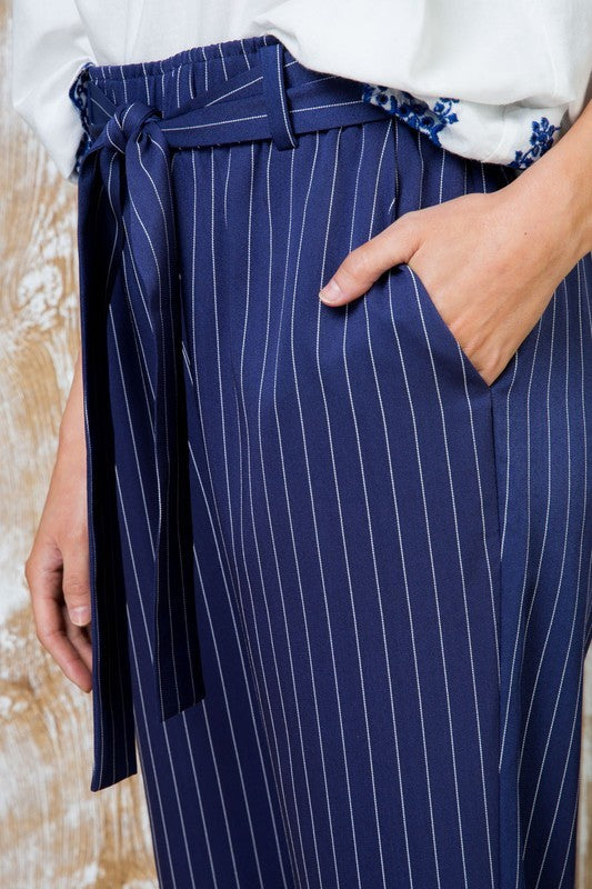 Navy Waist Tie Striped Print Midi Pants With Pocket Siin Bees