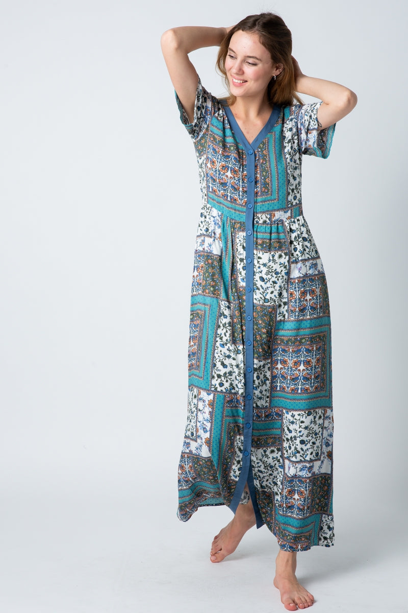 Kylie Blue Maxi Dress Mix Print With Button Down Siin Bees