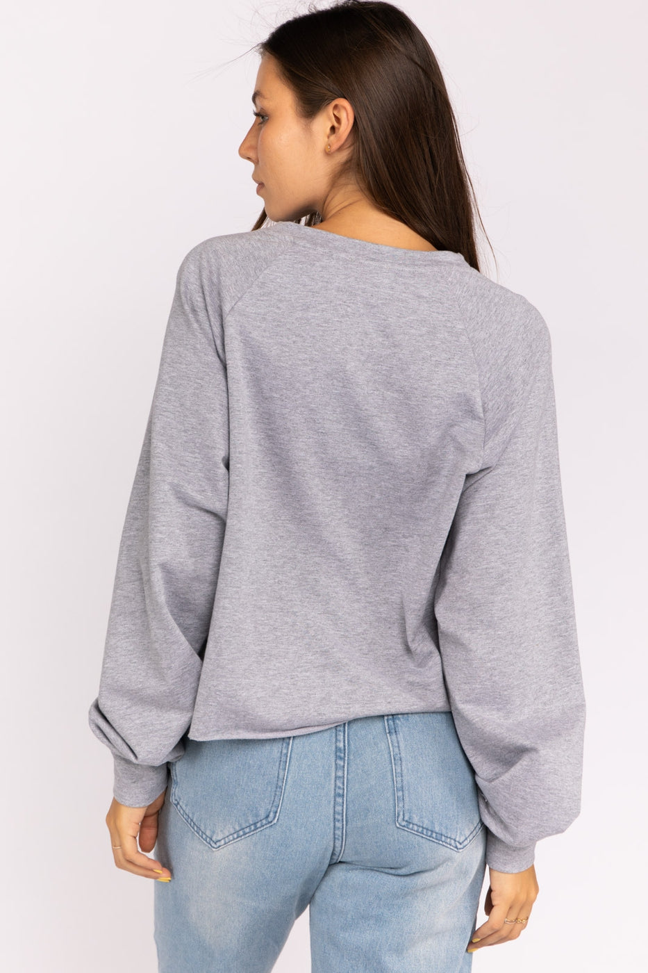 Dog Mama French Terry Top In Grey Siin Bees