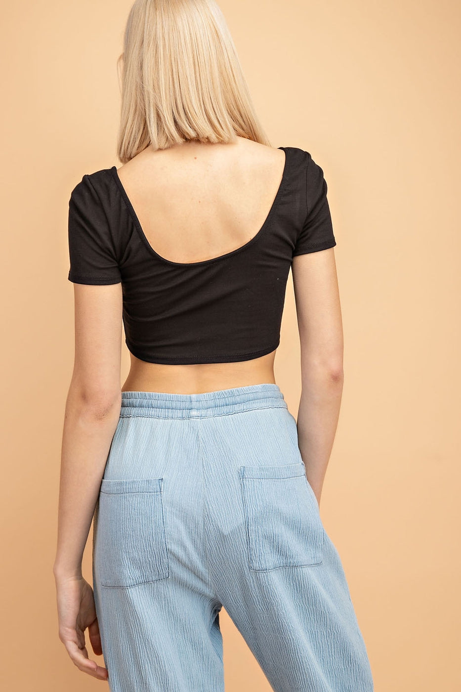 Deep U Neck, Knit Crop Top Siin Bees