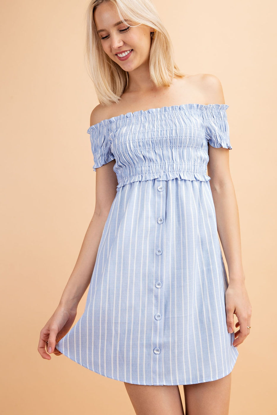 Gianna Dress With Off Shoulder Stripe Smocked Siin Bees