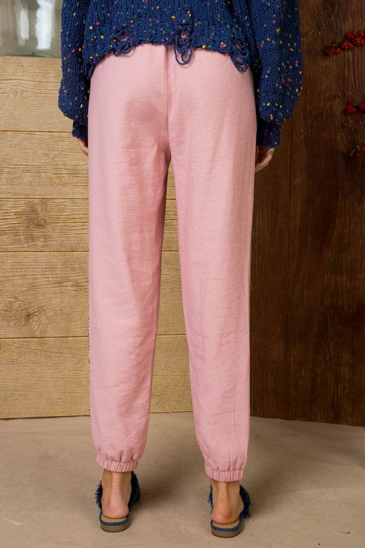 Blush Fitted Jogger with Elastic Waistband and Pockets Side Sequin Trim Siin Bees