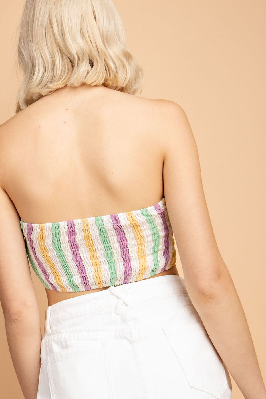 Multi Stripe Soft Linen Tube Top Siin Bees