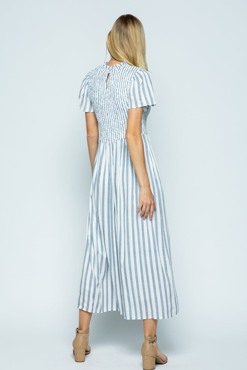 Elissa Midi Dress with Smocking Navy Stripes Detail Siin Bees