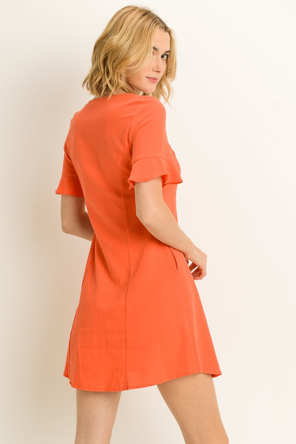 Shirt Dress In Coral Siin Bees