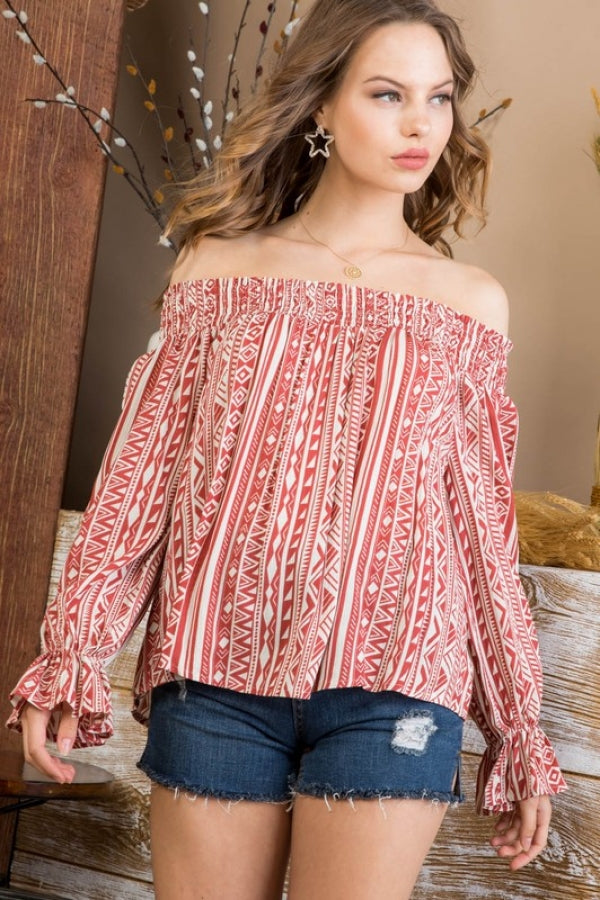 Off Shoulder Long Ruffle Sleeve With Elastic Top Siin Bees