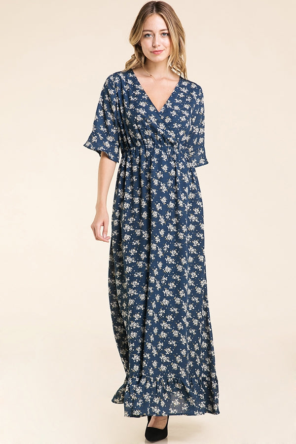 Myra Maxi Dress Floral Print With Ruffle Sleeve Siin Bees
