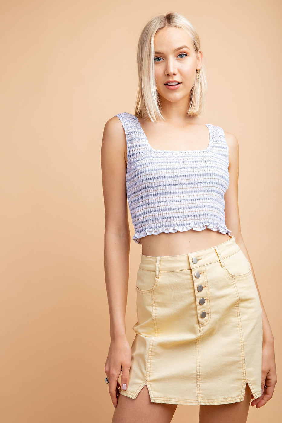 Smocked Stripe Cropped Top Siin Bees