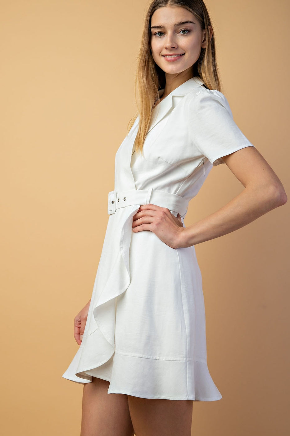 Buckle Detail Dress In White Siin Bees