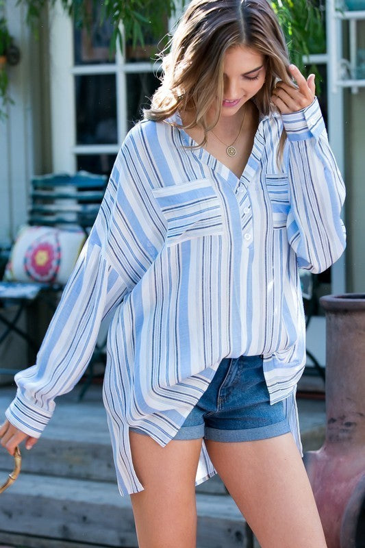Blue Stripe Printed Front Pockets Side Bottom Slit Boyfriend Shirt Top Siin Bees