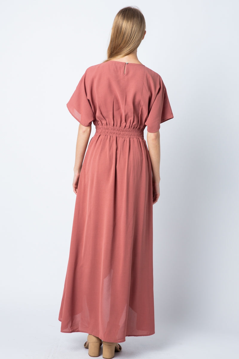 Rosalie Short Sleeves Maxi Dress High Low With Waistband Siin Bees