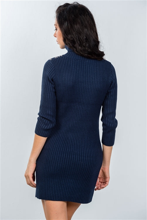 Tessa Stylish Navy Turtleneck Sweater Bodycon Mini Dress Siin Bees