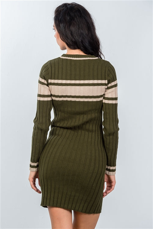 Olive Long Sleeve Striped Sweater Dress Siin Bees