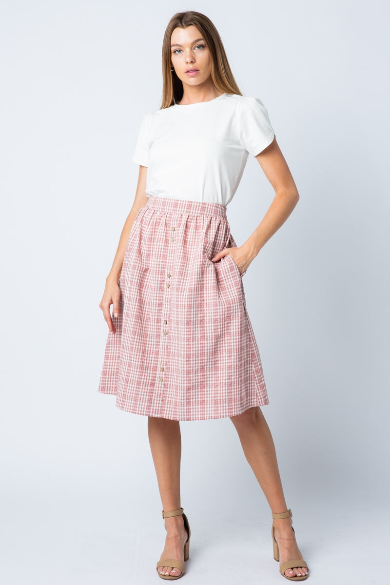 Beautiful Mauve Midi Skirt Plaid With Two Button Siin Bees
